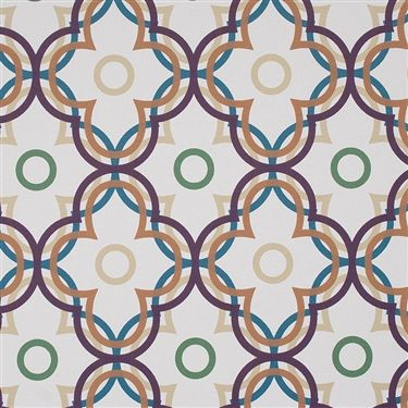 Ripple is a large scale abstract refined floral wallpaper. Its bold overlapping graphic print will add a lively retro vibe and make a distinctive feature in any interior. Byzantium Ripple Wallpaper R2227