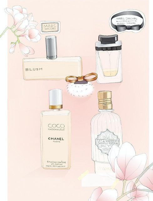 : Perfume Illustrations, Art Illustrations, Illustrations Inspiration, Illustrations Flower, Blushes Pink Perfume, Floral Fragrance, Illustrations Prints, Fashion Illustrations, Parfum Perfume