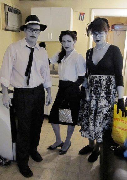 black and white costume. pretty cool idea