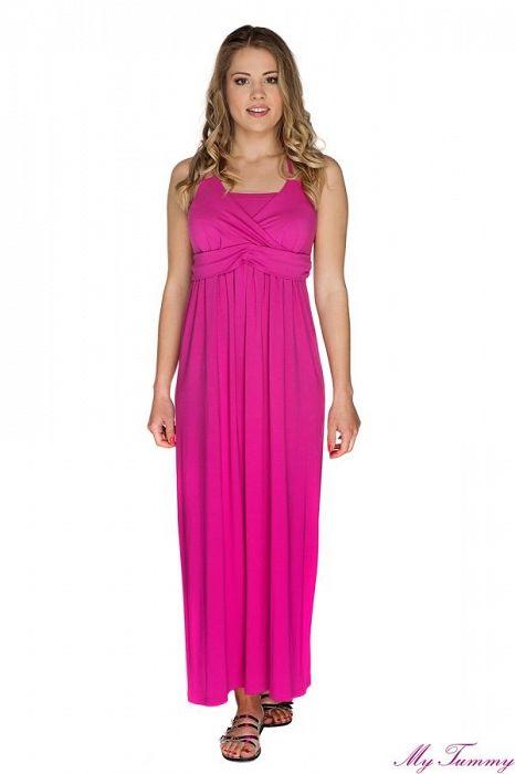 Těhotenské a kojicí šaty Sally fuchsiové - My Tummy - Luxusní, elegantní a praktické oblečení pro těhotné a kojící ženy