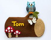 Personalized name plate, log with blue owl and toadstools. Woodland. Nursery, baby boy, baby shower, christening, name day. $48.00