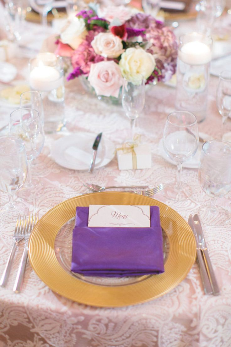 La Tavola Fine Linen Rental: Liza Blush over Topaz Blush with Dupionique Iridescence Grape Napkins | Photography: Andrew Jade Photo, Venue: JW Marriott Desert Ridge AZ, Florals: Avant-Garde Studio, Rentals: Classic Party Rentals
