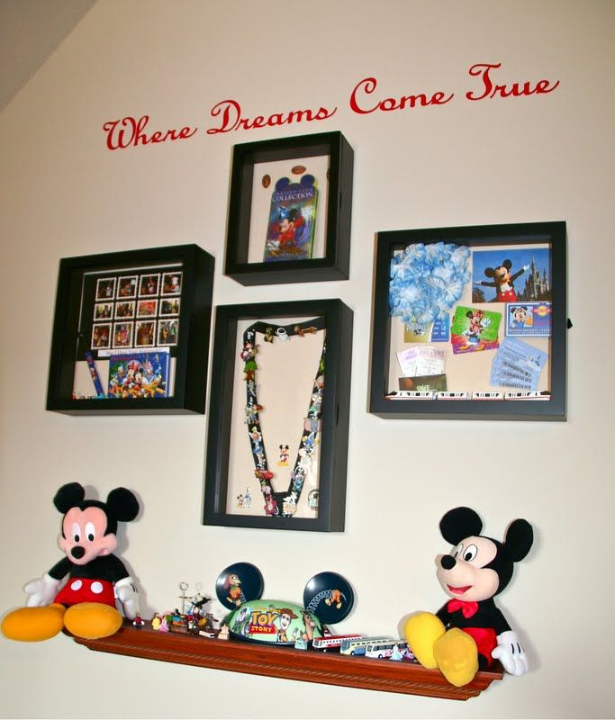 Lookie What I Did: What To Do With Your Disney World Vacation Pictures and Souvenirs -- I especially love the pin on the lanyard framed display!