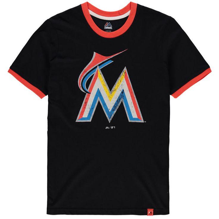 Miami Marlins Majestic Youth Baseball Stripes Ring T-Shirt - Black