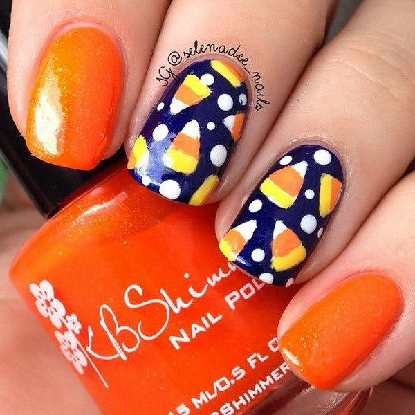 Cute Candy Halloween Nails. Halloween Nail Art Ideas.