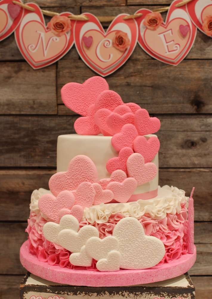 Stunning heart cake at a shabby chic birthday party! See more party planning ideas at CatchMyParty.com!