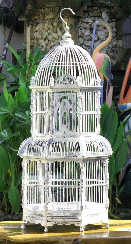 Vintage teak birdcage