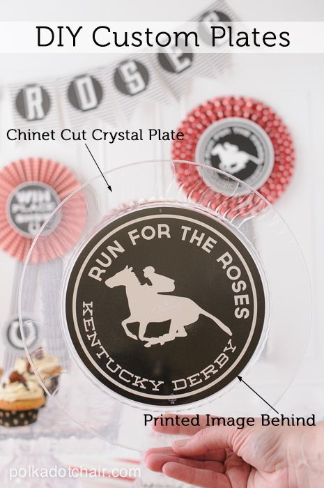 Make your own custom plates by applying paper to the back of a clear disposable plate...