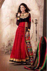 Net Anarkali Suit In Red Colour 1821-B