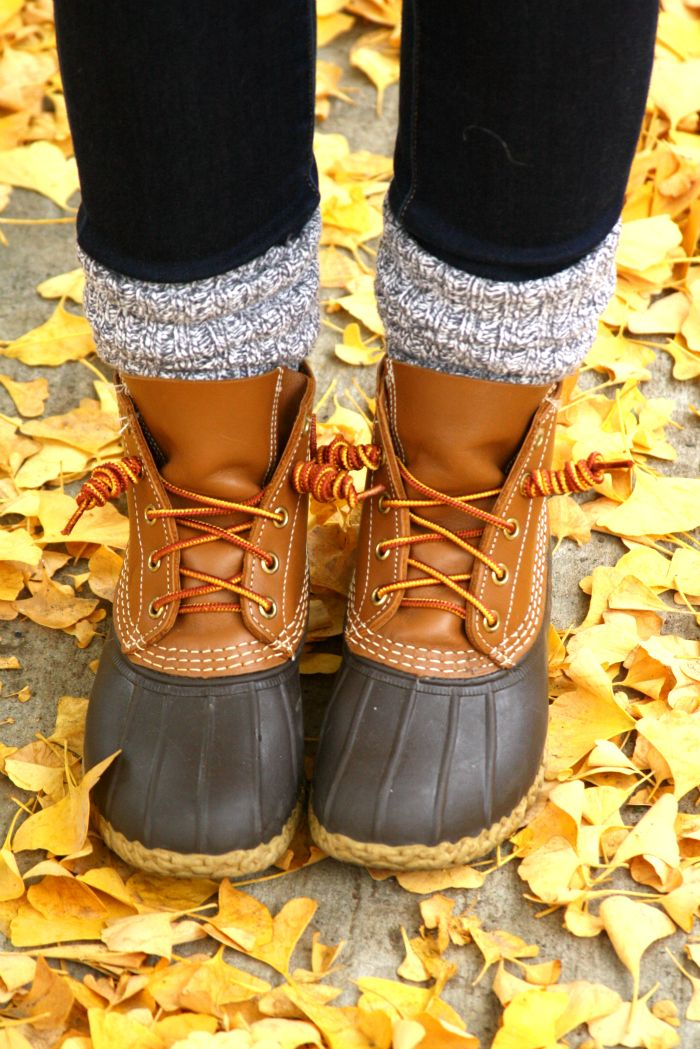 Bright leaves and Bean Boots