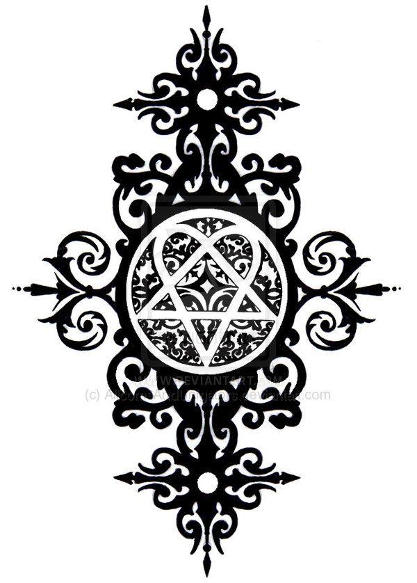 Heartagram Tattoo, Goth Tattoo