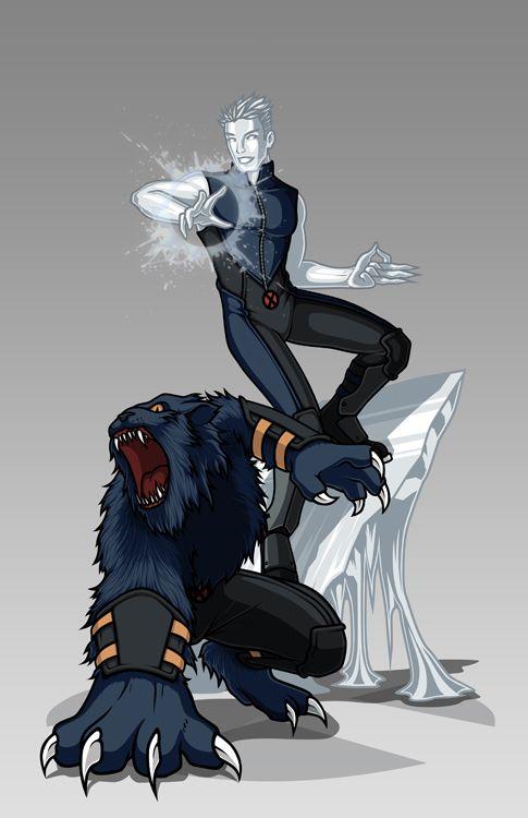 X-men Costume Redesign: Iceman and Beast by Hiroki8 on DeviantArt