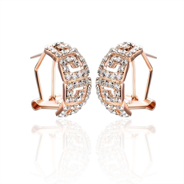 Italina Red Apple Champagne gold plated earrings US $7.70