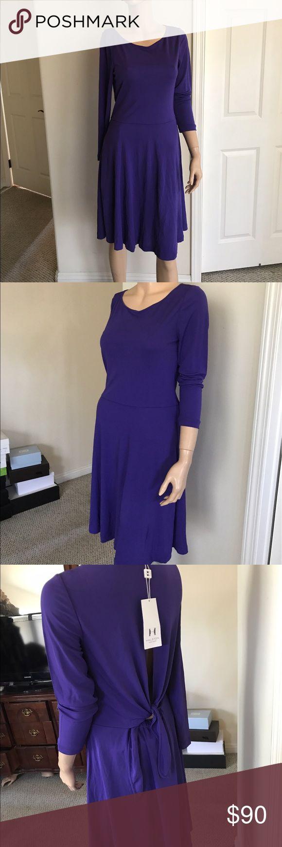 Halston Dress Purple Dress with Open Back Halston Heritage Dresses Long Sleeve