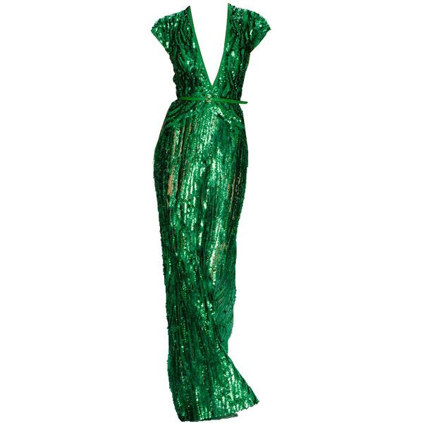 Elie Saab Emerald Sequin Green Dress