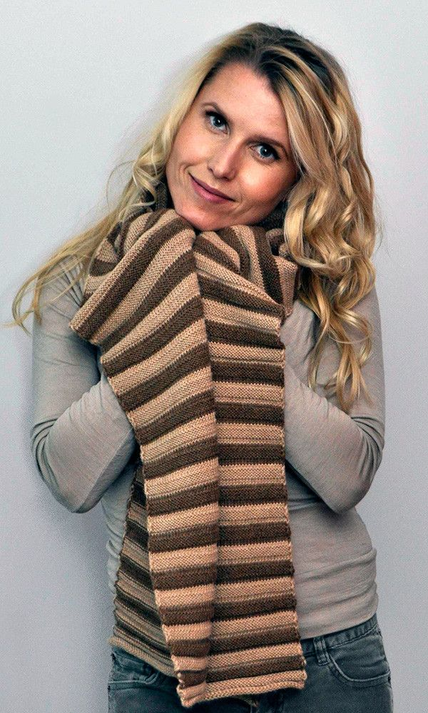 Stripe Scarf Fawn/Brown – Great scarf for him. Great scarf for her. Natural colour combinations in a luxuriously soft horizontal rib.
