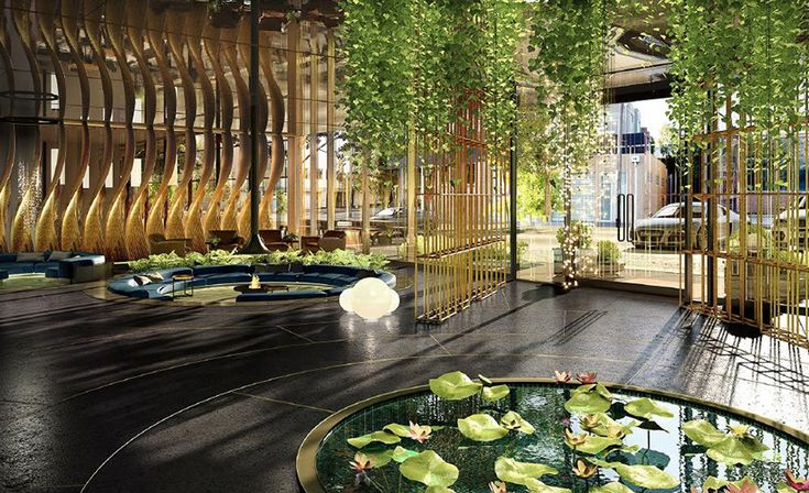 West Melbourne's first five-star hotel will feature a rainforest-inspired lobby, moonscape ceiling and futuristic neon car park.