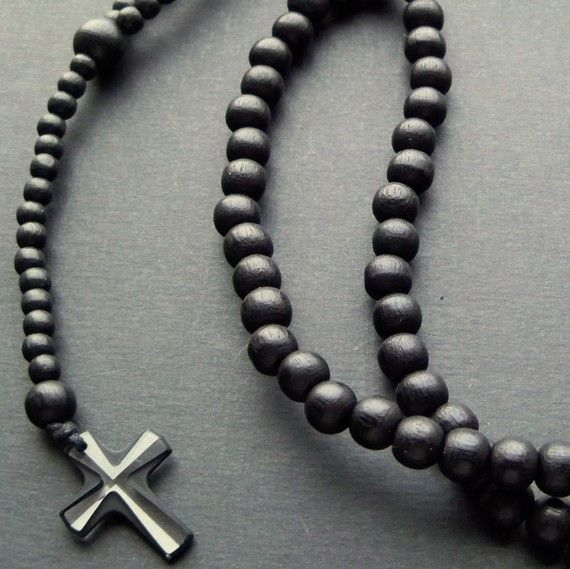 Mens Black Wooden Beaded Rosary Necklace With Small
