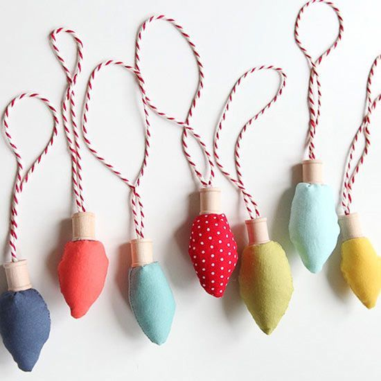 DIY Christmas Ornaments | There's something about oversize, old-fashioned Christmas lights that makes us nostalgic -- and that's why we love these retro fabric Christmas lights found at Kojo Designs. Follow the supereasy tutorial, and you'll be whipping up a strand of lights for your tree in no time!