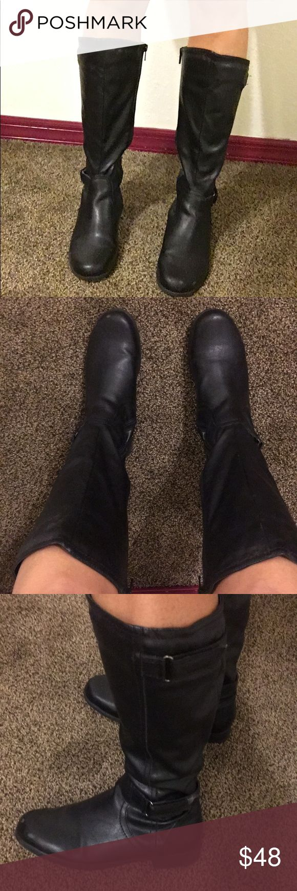 Black leather boots. Tall black leather boots. Great condition. Size US 6.5 Hush Puppies Shoes Combat & Moto Boots