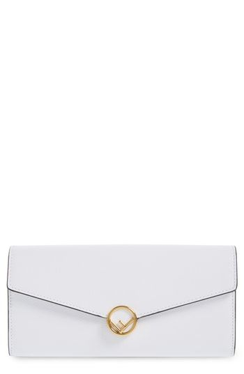 09313b3b63f Fendi Logo Flap Leather Continental Wallet