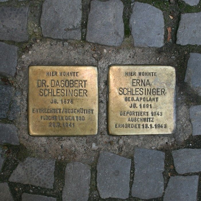 """You will find these """"Stolpersteine"""" all over Berlin. They are reminders of the people who died in the holocaust. There are about 22.000 stones in 530 cities in Europe."""