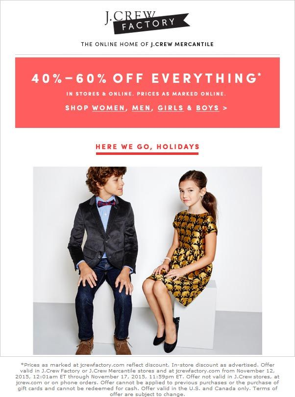 Pinned November 13th: Everything is 40-60% off at #J.Crew Factory ditto online #coupon via The #Coupons App