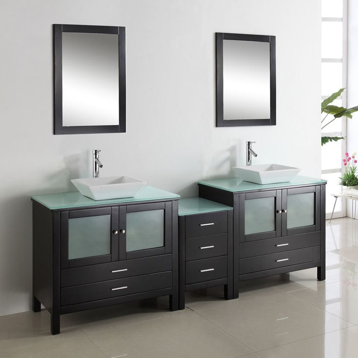 Awesome Black Painted Wooden Double Sinks Vanity Decor With Frosted Glass Door And Chromed Metal Faucet With Bathroom Sink Vanities Also 48 Vanity ideas