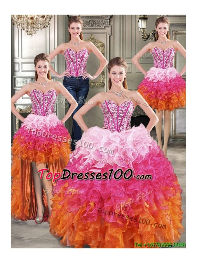 Visible Boning Beaded Bodice and Ruffled Detachable Quinceanera Dresses in Rainbow - US$431.57