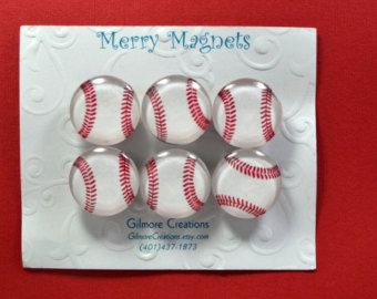 "Set of Magnets Fridge Magnets Glass Magnets ""Baseball"""