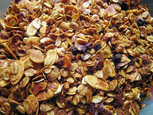 The Barefoot Contessa's recipe for granola, with almonds, honey, dried Italian cherries, raisins and sunflower seeds, is how I like it.