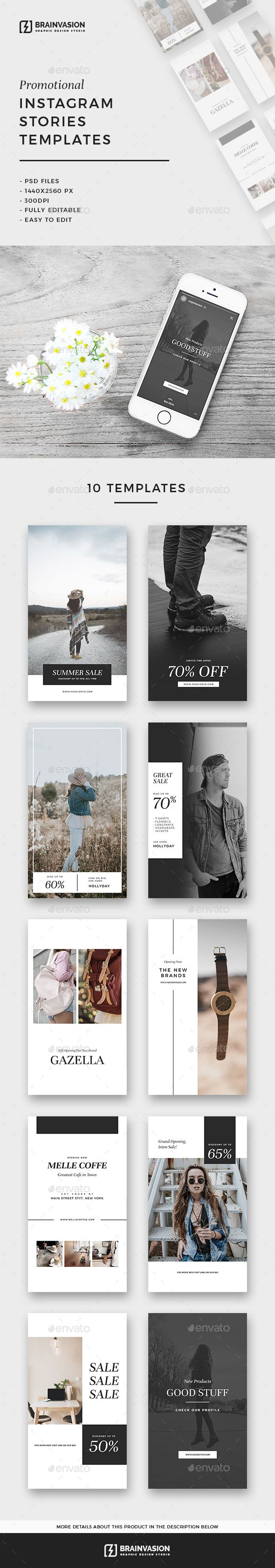 Promotional Instagram Stories Templates — Photoshop PSD #social media #photoshop stories • Download ➝ https://graphicriver.net/item/promotional-instagram-stories-templates/20193036?ref=pxcr