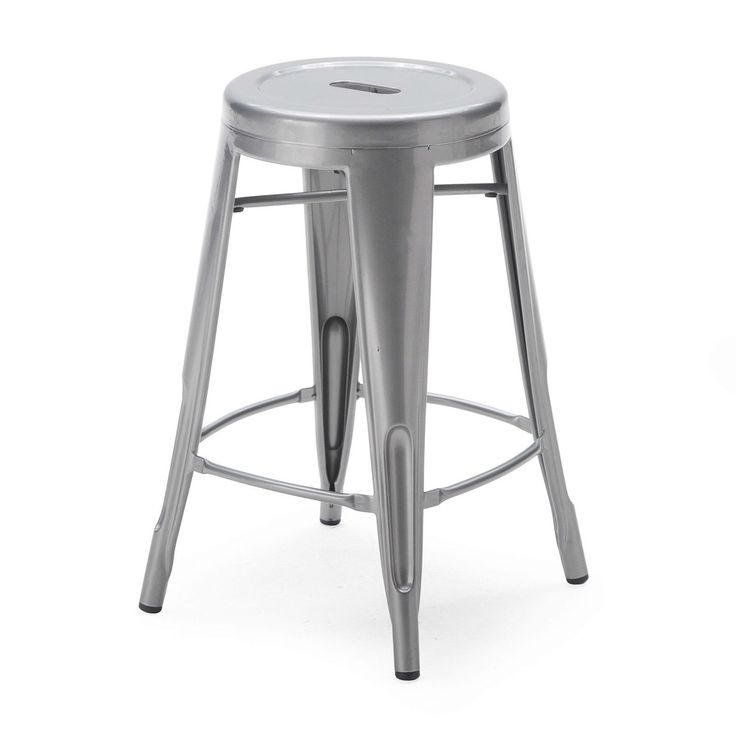 Set of 2 Steel Metal 24-inch Counter Height Bar Stools in Powder Coat Silver Finish