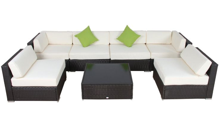 High quality rattan/wicker furniture set that's a perfect fit for patio, roof-top, pool-side, and any type of outdoor setting. Versatile arrangements for the sevenpiecesto match any seating, conversational, or even lounging needs.