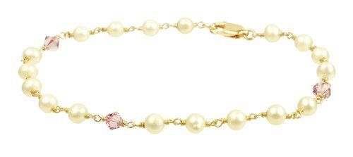 """Gold Plated Sterling Silver with Crystallized Swarovski Elements June Birthstone Alexandrite Color Bicone Beads and Freshwater Cultured Pearl Bracelet, 7.5"""" Amazon Curated Collection. Save 33 Off!. $40.00"""