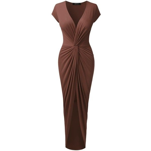 Doublju Short Sleeve Tulip-Hem Surplice Wrap Maxi Dress For Women ($22) ❤ liked on Polyvore featuring dresses, maxi dresses, cross over dress, wrap dress, tulip dresses and brown maxi dress