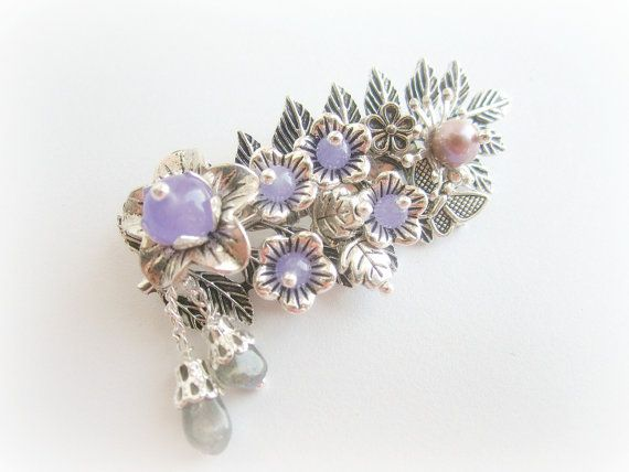 Floral pin brooch leaf brooch gemstones by MalinaCapricciosa