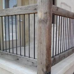 Idée de rampe fer forgé/pruche pour patio....wow !