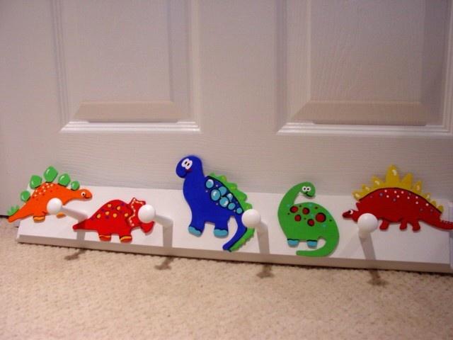 Cool dinosaur peg wall hooks nursery decor kids room for Kids room hooks