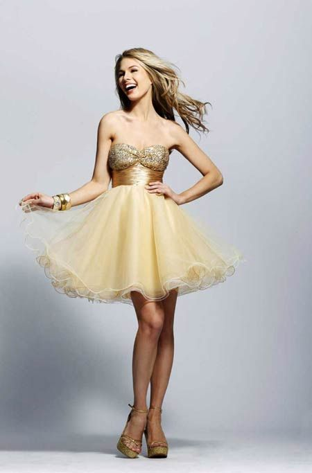 vestido de 15 corto dorado