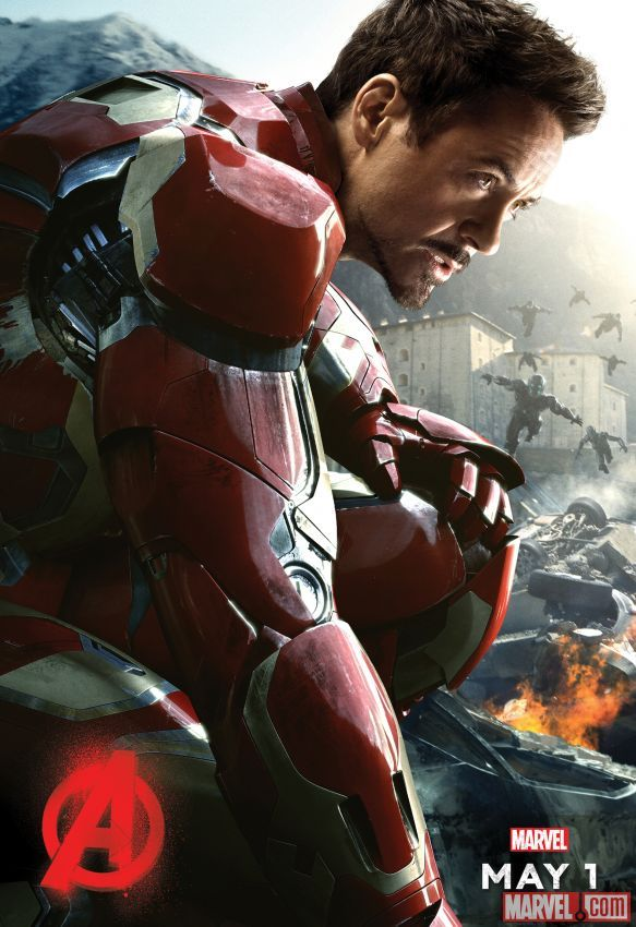 "#IronMan lands in his Marvel's ""Avengers: Age of Ultron"" character poster, in theaters May 1, 2015!"