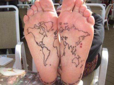 World at my feet. Heh.: Tattoo Ideas, First Tattoo, Feet Tattoo, Tattoo'S, A Tattoo, World Maps Tattoo, The World, World Travel, White Ink