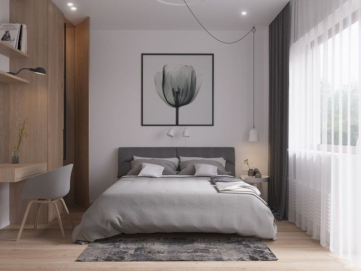 Camera da letto stile scandinavo in legno chiaro e bianco