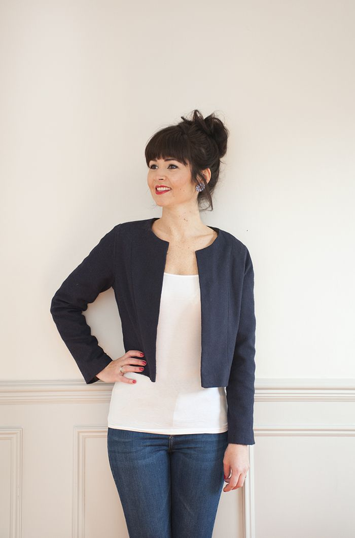 Sew Over It Coco Jacket sewing pattern - classic version in navy blue. This one will go with any outfit