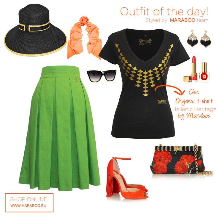 Green chic pleated skirt $105€,t-shirt Princess Iphigenia $64.90€