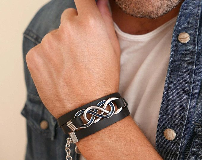 Men S Bracelet Infinity Leather Jewelry Gift