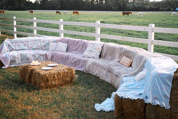 Hay bale sofa, curved with no arms