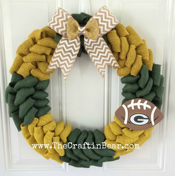 Hey, I found this really awesome Etsy listing at https://www.etsy.com/listing/254245351/green-bay-packers-burlap-wreath-w