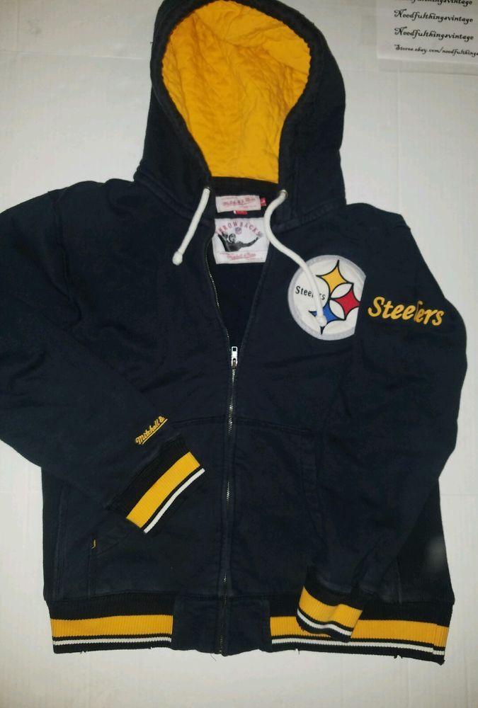 Mitchell & Ness Pittsburgh Steelers Hoodie Jacket Full Zip Sweater Throwback -L- #MitchellNess #PittsburghSteelers