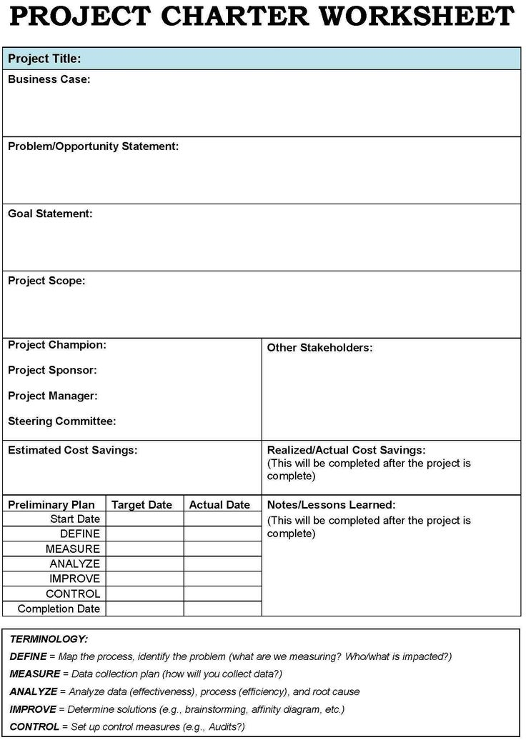 project charter templates Google Search – Project Management Worksheet